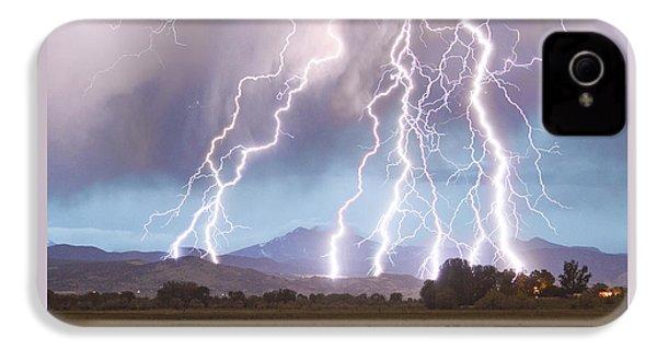 Lightning Striking Longs Peak Foothills 4c IPhone 4 Case