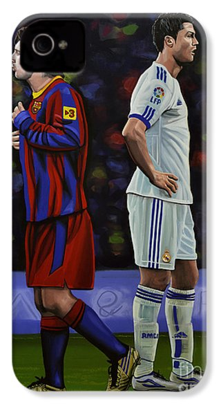 Lionel Messi And Cristiano Ronaldo IPhone 4 Case by Paul Meijering