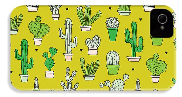 Little Cactus Botanical Garden IPhone 4 Case by Maaike Boot