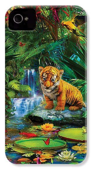 IPhone 4 Case featuring the drawing Little Tiger by Jan Patrik Krasny