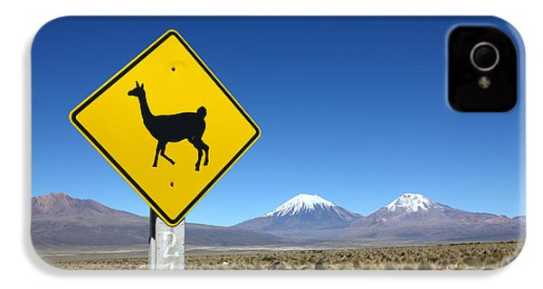 Llamas Crossing Sign IPhone 4 / 4s Case by James Brunker