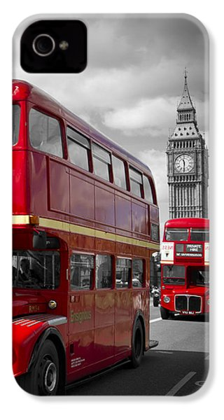 London Red Buses On Westminster Bridge IPhone 4 Case by Melanie Viola