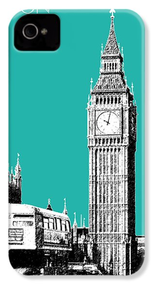 London Skyline Big Ben - Teal IPhone 4 Case by DB Artist