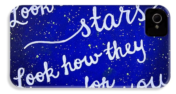 Look At The Stars Quote Painting IPhone 4 Case by Michelle Eshleman