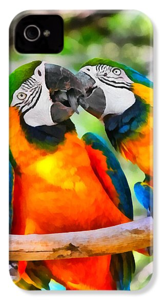 Love Bites - Parrots In Silver Springs IPhone 4 / 4s Case by Christine Till