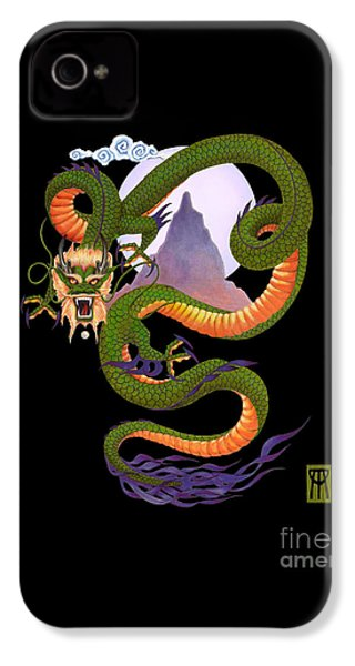 Lunar Chinese Dragon On Black IPhone 4 Case by Melissa A Benson