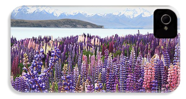 IPhone 4 Case featuring the photograph Lupins At Tekapo by Nareeta Martin