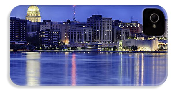 IPhone 4 Case featuring the photograph Madison Skyline Reflection by Sebastian Musial