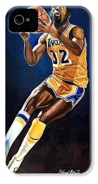 Magic Johnson - Lakers IPhone 4 / 4s Case by Michael  Pattison