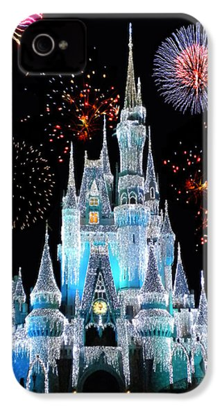 Magic Kingdom Castle In Frosty Light Blue With Fireworks 06 IPhone 4 Case