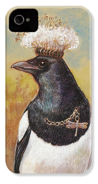 Magpie In A Milkweed Crown IPhone 4 Case by Tracie Thompson