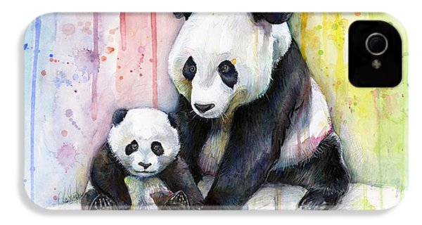 Panda Watercolor Mom And Baby IPhone 4 Case