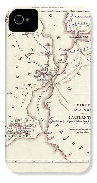 Map Of Atlantis IPhone 4 / 4s Case by Library Of Congress, Geography And Map Division