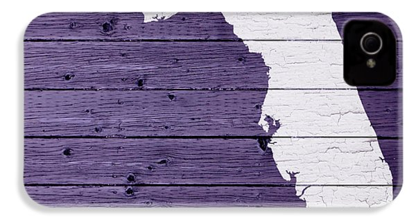 Map Of Florida State Outline White Distressed Paint On Reclaimed Wood Planks IPhone 4 / 4s Case by Design Turnpike