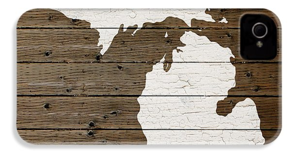 Map Of Michigan State Outline White Distressed Paint On Reclaimed Wood Planks IPhone 4 Case by Design Turnpike