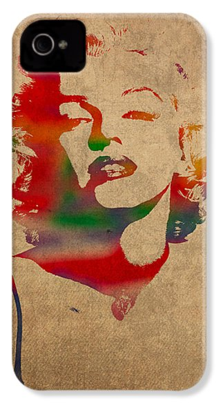 Marilyn Monroe Watercolor Portrait On Worn Distressed Canvas IPhone 4 / 4s Case by Design Turnpike