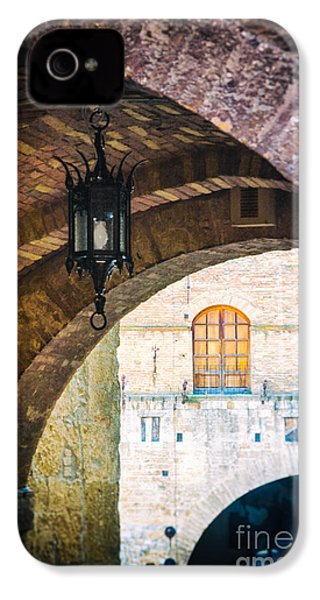 IPhone 4 Case featuring the photograph Medieval Arches With Lamp by Silvia Ganora