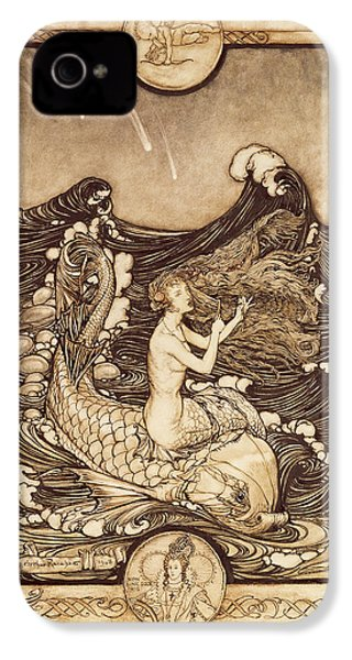 Mermaid And Dolphin From A Midsummer Nights Dream IPhone 4 / 4s Case by Arthur Rackham
