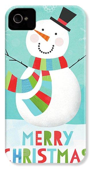Merry Snowman IIi IPhone 4 / 4s Case by Lamai Mccartan