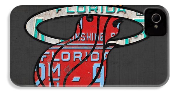 Miami Heat Basketball Team Retro Logo Vintage Recycled Florida License Plate Art IPhone 4 Case by Design Turnpike