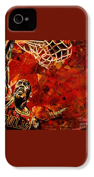 Michael Jordan IPhone 4 Case by Maria Arango