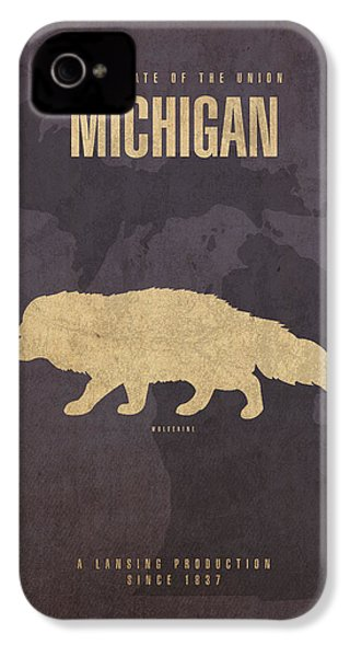 Michigan State Facts Minimalist Movie Poster Art  IPhone 4 Case by Design Turnpike