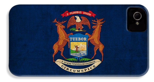 Michigan State Flag Art On Worn Canvas IPhone 4 Case by Design Turnpike