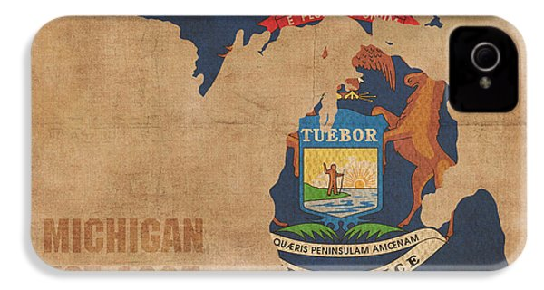 Michigan State Flag Map Outline With Founding Date On Worn Parchment Background IPhone 4 Case by Design Turnpike