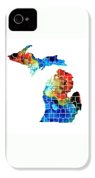 Michigan State Map - Counties By Sharon Cummings IPhone 4 Case by Sharon Cummings