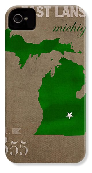 Michigan State University Spartans East Lansing College Town State Map Poster Series No 004 IPhone 4 Case by Design Turnpike