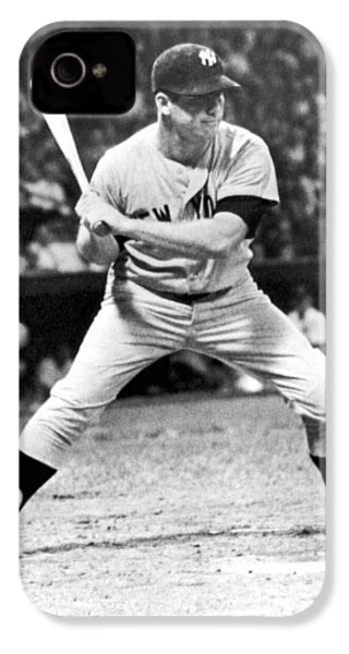 Mickey Mantle At Bat IPhone 4 Case by Underwood Archives