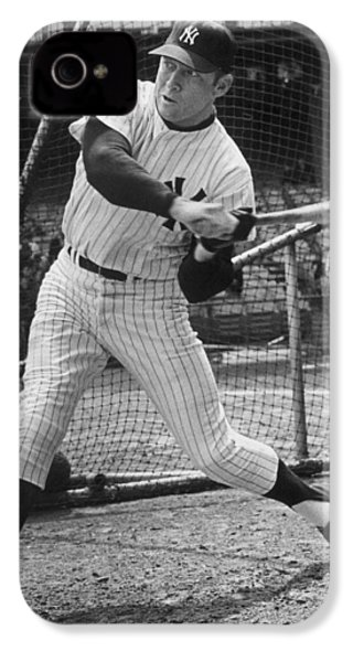 Mickey Mantle Poster IPhone 4 Case by Gianfranco Weiss