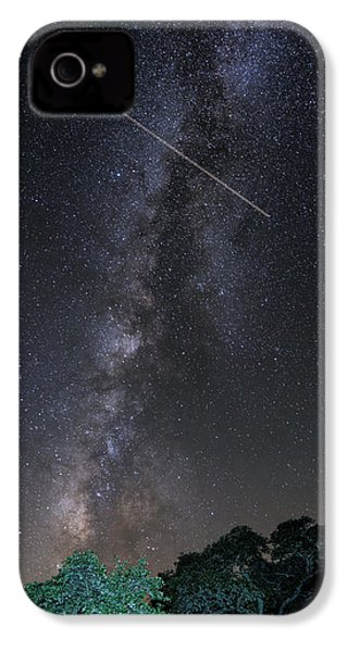 Milky Way Vertical Panorama At Enchanted Rock State Natural Area - Texas Hill Country IPhone 4 Case by Silvio Ligutti