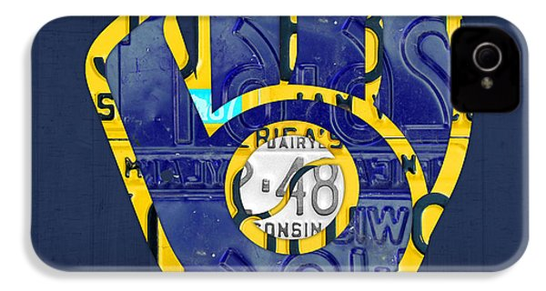 Milwaukee Brewers Vintage Baseball Team Logo Recycled Wisconsin License Plate Art IPhone 4 Case by Design Turnpike