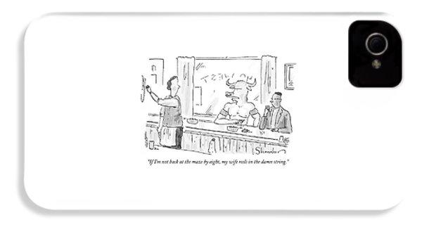 Minotaur At Bar Talking To Bartender Reaching IPhone 4 Case