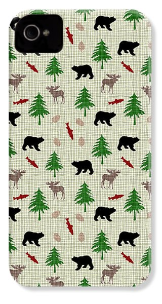 Moose And Bear Pattern IPhone 4 Case by Christina Rollo