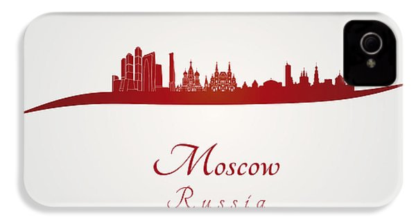 Moscow Skyline In Red IPhone 4 Case by Pablo Romero