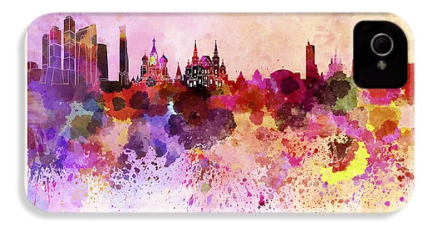 Moscow Skyline In Watercolor Background IPhone 4 Case