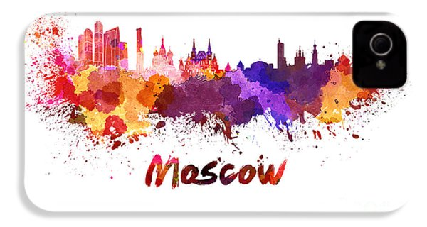 Moscow Skyline In Watercolor IPhone 4 Case by Pablo Romero