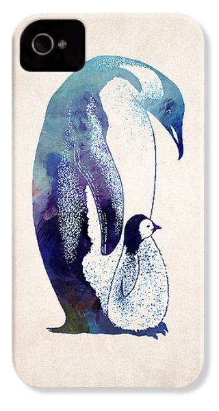Mother And Baby Penguin IPhone 4 / 4s Case by World Art Prints And Designs