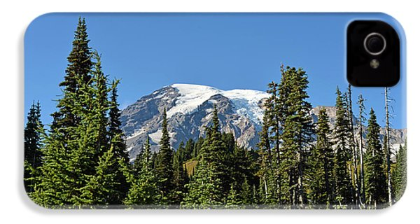 IPhone 4 Case featuring the photograph Mount Rainier Evergreens by Anthony Baatz
