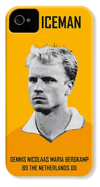 My Bergkamp Soccer Legend Poster IPhone 4 Case by Chungkong Art