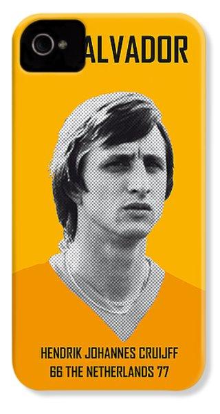 My Cruijff Soccer Legend Poster IPhone 4 Case by Chungkong Art