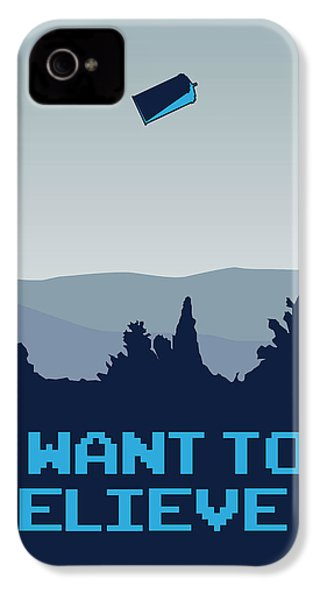 My I Want To Believe Minimal Poster- Tardis IPhone 4 Case by Chungkong Art