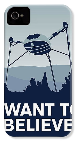 My I Want To Believe Minimal Poster-war-of-the-worlds IPhone 4 Case