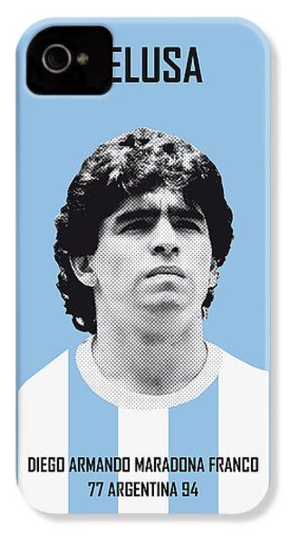 My Maradona Soccer Legend Poster IPhone 4 Case by Chungkong Art