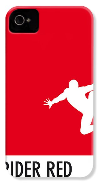 My Superhero 04 Spider Red Minimal Poster IPhone 4 Case