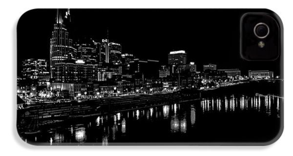 Nashville Skyline At Night In Black And White IPhone 4 Case by Dan Sproul