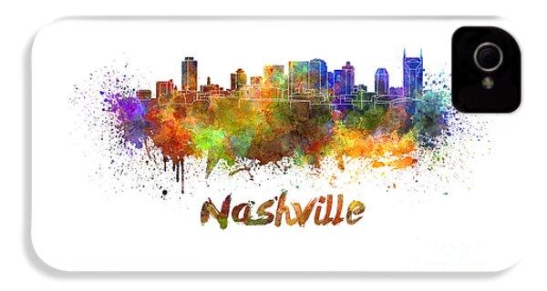 Nashville Skyline In Watercolor IPhone 4 Case by Pablo Romero
