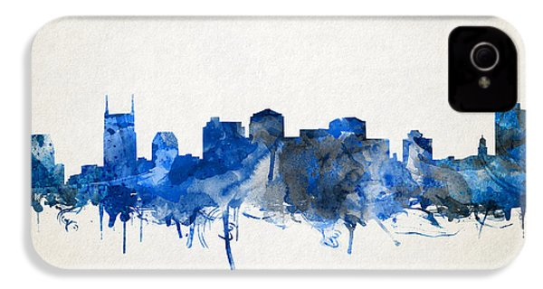Nashville Skyline Watercolor 11 IPhone 4 Case